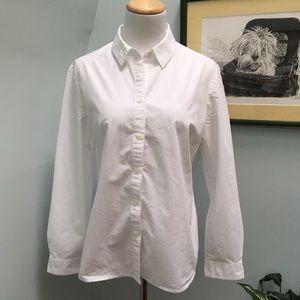 Boden White Cotton Button Down Top
